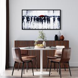 Framed 24 x 48 - Silhouettes walking in the rain
