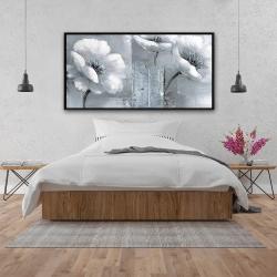 Framed 24 x 48 - Peaceful black & white flowers