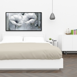 Framed 24 x 48 - Grayscale flowers