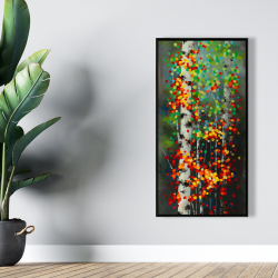 Framed 24 x 48 - Colorful dotted leaves birches