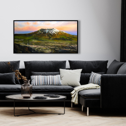 Framed 24 x 48 - Valley and mountains landscape