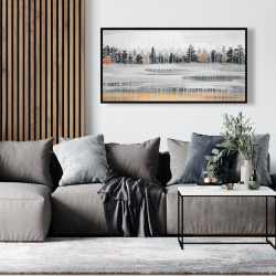 Framed 24 x 48 - Fall rainy day landscape with trees