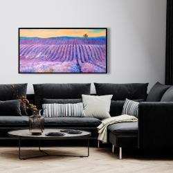 Framed 24 x 48 - Landscape of a field of lavender
