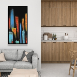 Framed 24 x 48 - Abstract and colorful tall buildings