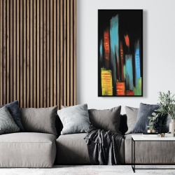 Framed 24 x 48 - Abstract tall buildings