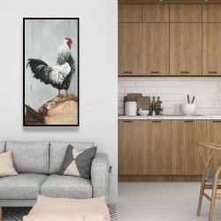 Framed 24 x 48 - Wyandotte rooster