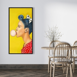 Framed 24 x 48 - Retro woman with beautiful ponytail