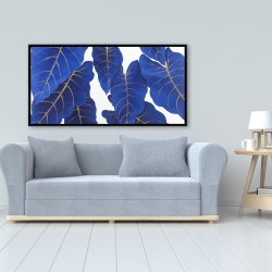 Framed 24 x 48 - Tropical abstract blue leaves