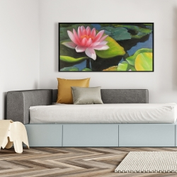 Framed 24 x 48 - Water lilies and lotus flowers