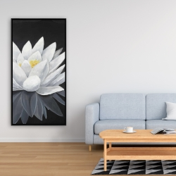 Framed 24 x 48 - Lotus flower with reflection