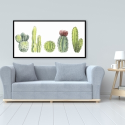 Framed 24 x 48 - Tiny cactus set