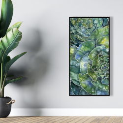 Framed 24 x 48 - Abstract succulents