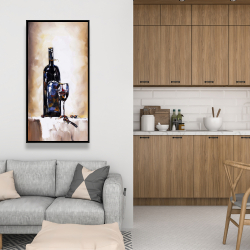 Framed 24 x 48 - Bottle and a glass of red wine