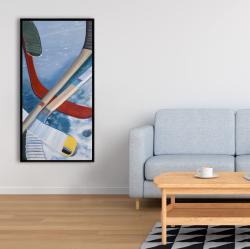 Framed 24 x 48 - Hockey sticks on ice