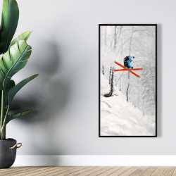 Framed 24 x 48 - Man skiing in steep offpiste terrain