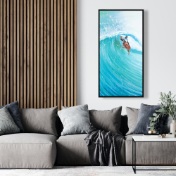 Framed 24 x 48 - Surfer in the middle of the wave