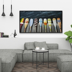 Framed 24 x 48 - Colorful paddles on the dock