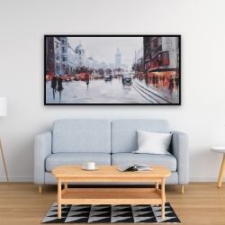 Framed 24 x 48 - Street scene with cars