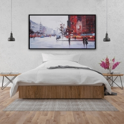 Framed 24 x 48 - Black and red street scene