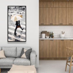 Framed 24 x 48 - Man walking with his umbrella