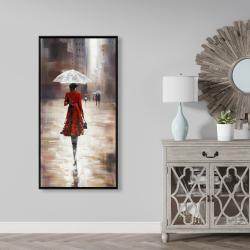 Framed 24 x 48 - Quiet walk in the rain