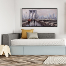 Framed 24 x 48 - Brooklyn bridge with passersby
