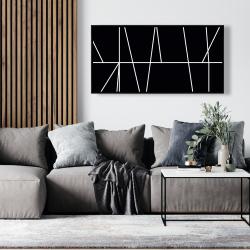 Framed 24 x 48 - White stripes on black background
