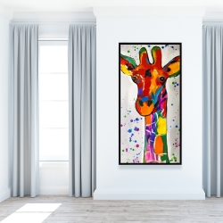 Framed 24 x 48 - Abstract colorful giraffe with paint splash