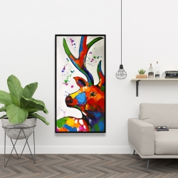 Framed 24 x 48 - Abstract colorful deer with paint splash