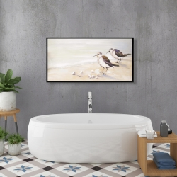 Framed 24 x 48 - Two sandpipers on the beach