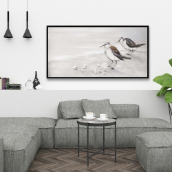 Framed 24 x 48 - Two sandpipiers birds