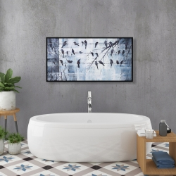 Framed 24 x 48 - Abstract birds on electric wire