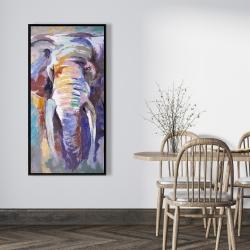 Framed 24 x 48 - Elephant in pastel color