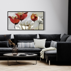 Framed 24 x 48 - Abstract red and white flowers