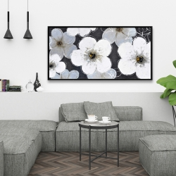 Framed 24 x 48 - Gray flowers