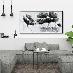 Framed 24 x 48 - Industrial style grayscale flowers