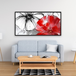 Framed 24 x 48 - Red & white flowers sketch