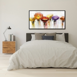 Framed 24 x 48 - Multiple colorful abstract flowers