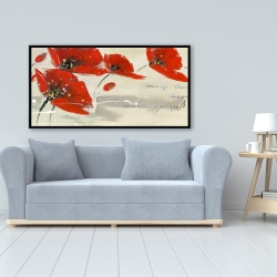 Framed 24 x 48 - Abstract red flowers in the wind