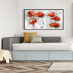Framed 24 x 48 - Red flowers