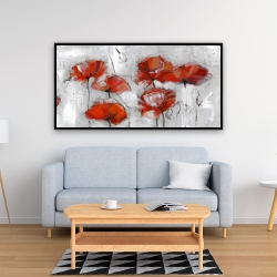 Framed 24 x 48 - Abstract poppies