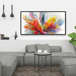 Framed 24 x 48 - Abstract flower with texture