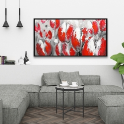 Framed 24 x 48 - Abstract red tulips
