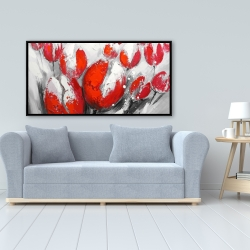 Framed 24 x 48 - Red tulips