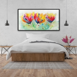 Framed 24 x 48 - Four colorful flowers