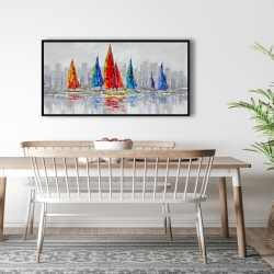 Framed 24 x 48 - Colorful boats near a gray city