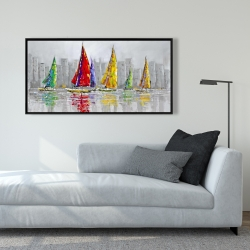 Framed 24 x 48 - Sailboats in the wind