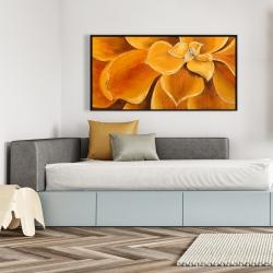 Framed 24 x 48 - Orange flower closeup