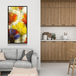 Framed 24 x 48 - Modern yellow flowers