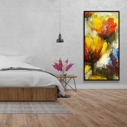 Framed 24 x 48 - Texturized yellow flowers
